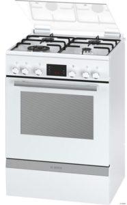 BOSCH HGD74W322F - Cuisinière table gaz-4 foyers-Four électrique-Catalyse-66L-A-L60 x H 85cm-Blanc