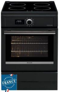 Cuisinière table induction BRANDT BCI6656A -4 foyers-9275 kW-Four électrique-Pyrolyse-57L-A-L60xH85m-Noir